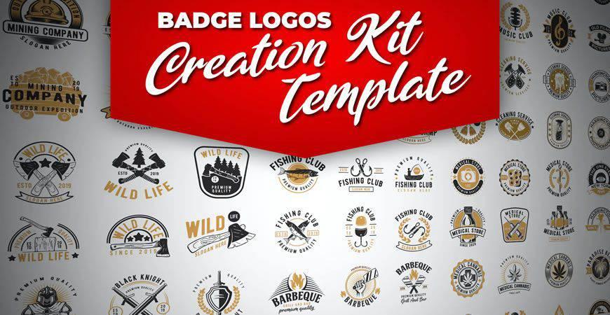 Retro Badge logo creator kit template