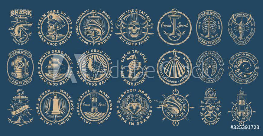 Vintage Nautical logo creator kit template