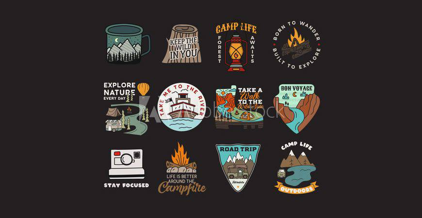 Vintage Badges logo creator kit template