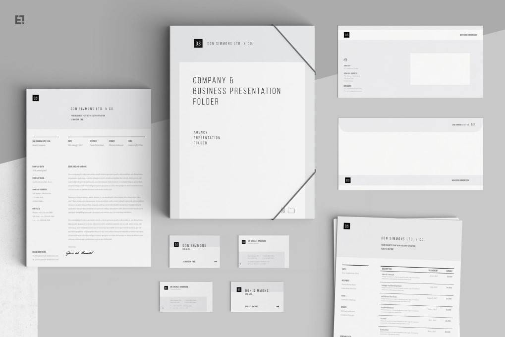 Simple Clean Modern corporate stationery business template format