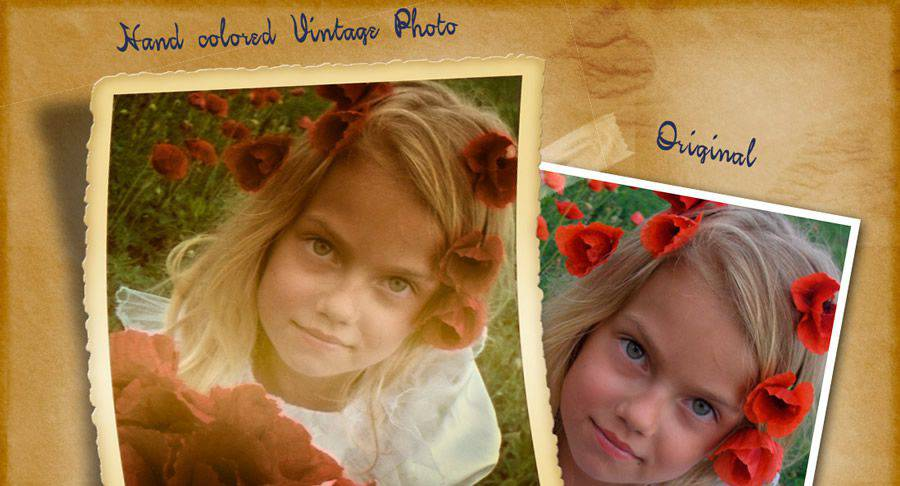Hand-Colored vintage free photoshop action atn