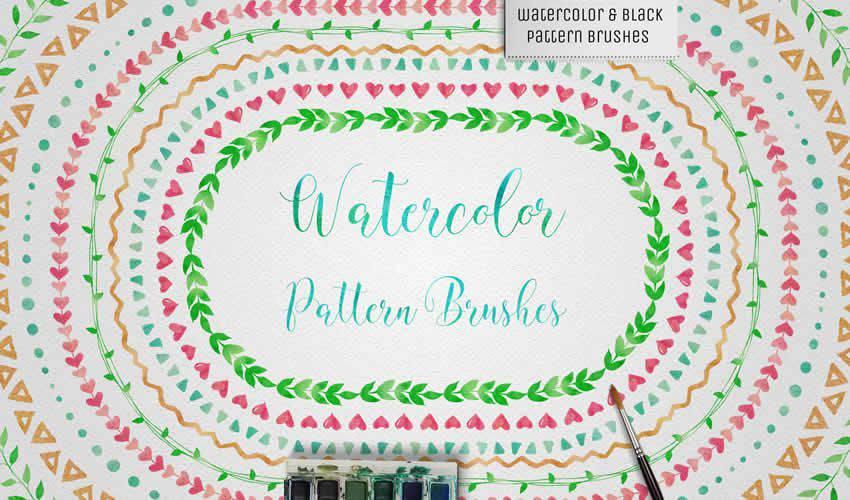 Watercolor Black Pattern adobe illustrator brush brushes abr pack set free