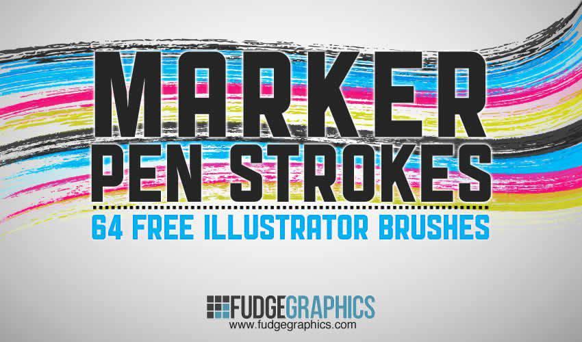 Marker Pen Strokes adobe illustrator brush brushes abr pack set free