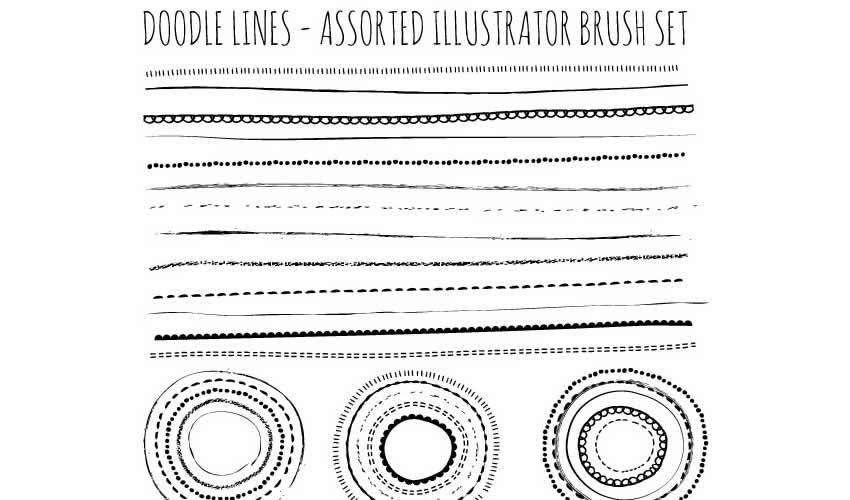 Natural Sketch Doodle Lines adobe illustrator brush brushes abr pack set free