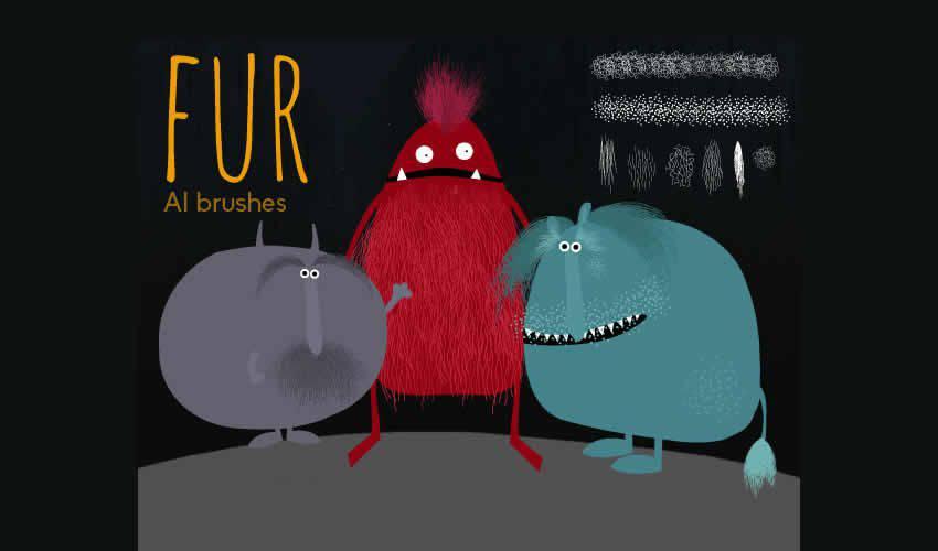 Hairy Fur adobe illustrator brush brushes abr pack set free
