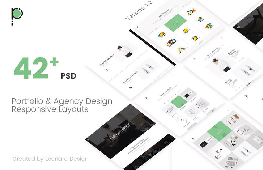 Poseidon Creative Portfolio Agency web design layout adobe photoshop template free psd format