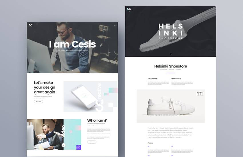 Cesis Creative Agency web design layout adobe photoshop template free psd format