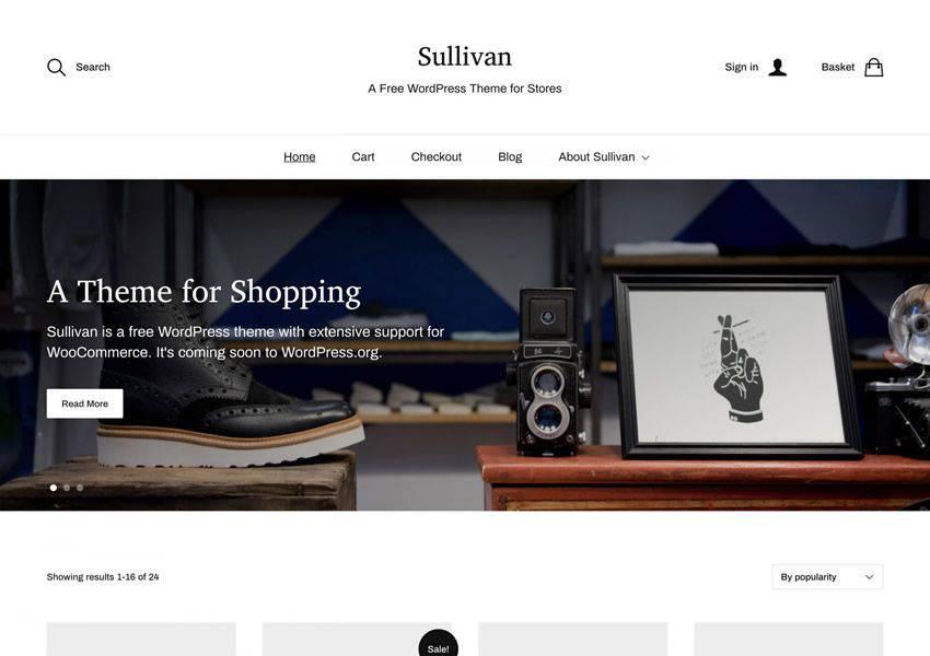 Sullivan free wordpress theme wp responsive ecommerce shop woocommerce