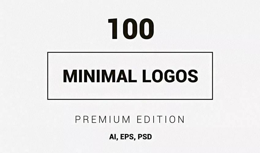 100 minimal ai illustrator psd photoshop logo template brand collection pack
