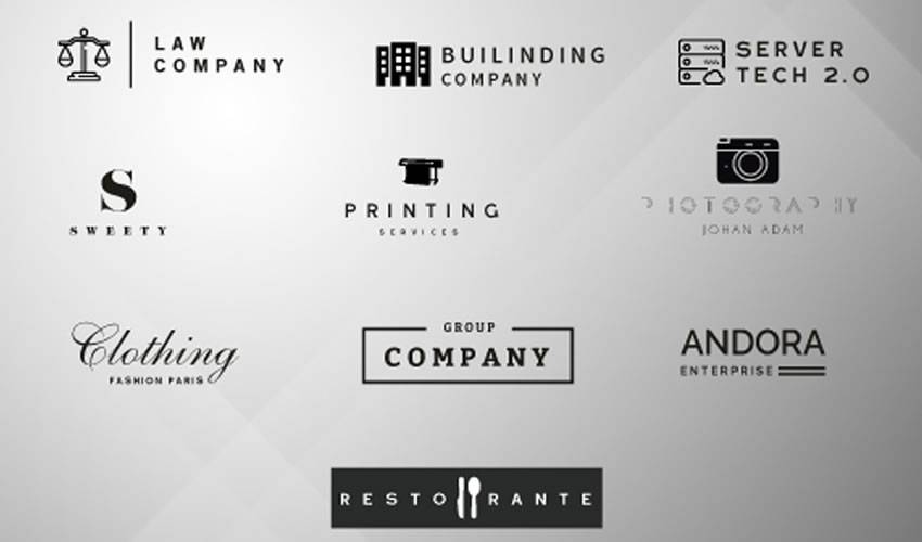 10 minimal psd photoshop free logo template brand collection pack