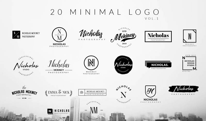 minimal ai illustrator psd photoshop logo template brand collection pack