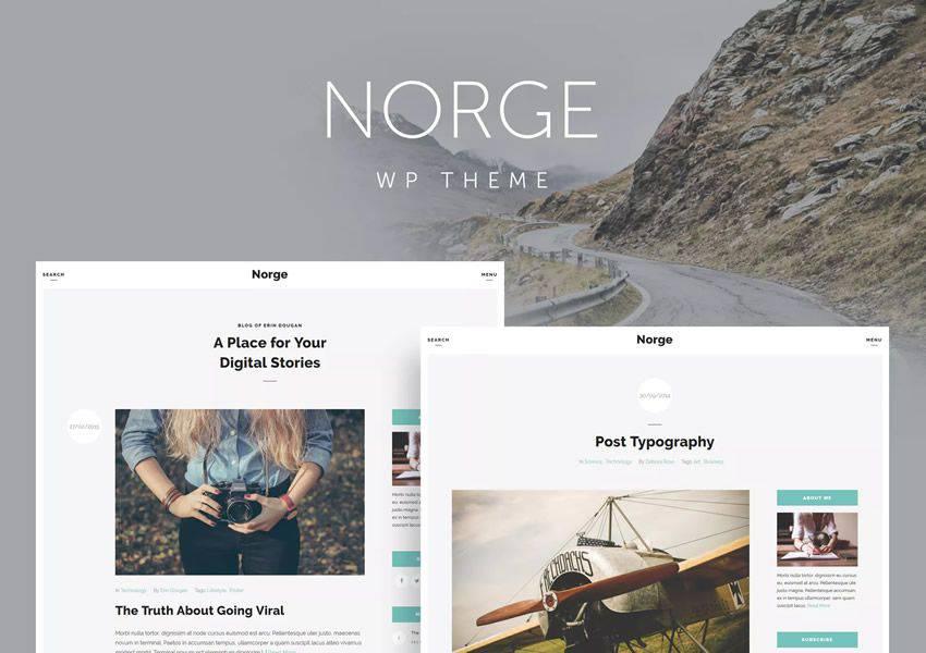Norge wordpress theme personal blog blogger blogging