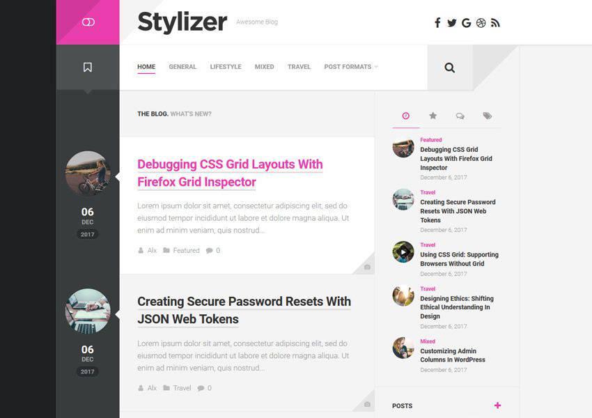 Stylizer free wordpress theme wp responsive personal blog blogger blogging
