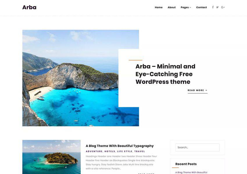 Arba free wordpress theme wp responsive personal blog blogger blogging