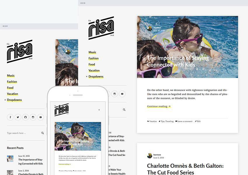 Risa free wordpress theme wp responsive personal blog blogger blogging