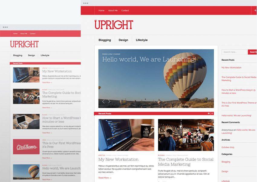 Upright free wordpress theme wp responsive personal blog blogger blogging