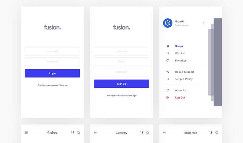 fusion sketch mobile app ui kit sketch ux format free design creative sketch.app