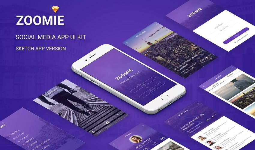 Zoomie Social Media sketch mobile app ui kit sketch ux format free design creative sketch.app