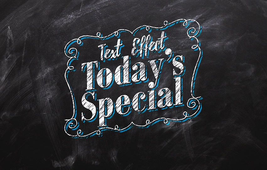 Free Photoshop Layer Styles PSD Chalkboard Text Effect