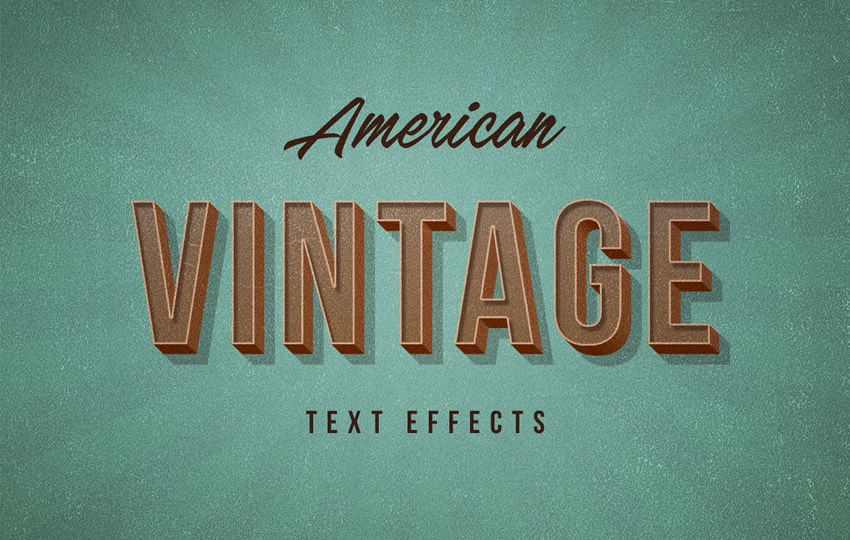 Free Photoshop Layer Styles American Vintage PSD Text Effect