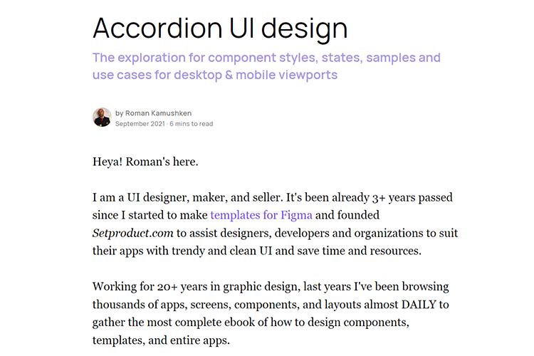Example from Accordion UI design