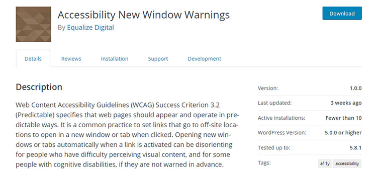 Accessibility New Window Warnings