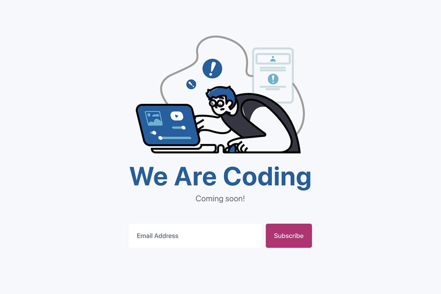 We Are Coding Idea coming soon page web design inspiration