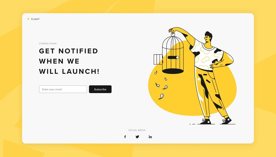 Flight coming soon page web design inspiration