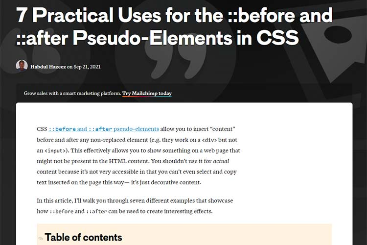 Example from 7 Practical Uses for the ::before and ::after Pseudo-Elements in CSS