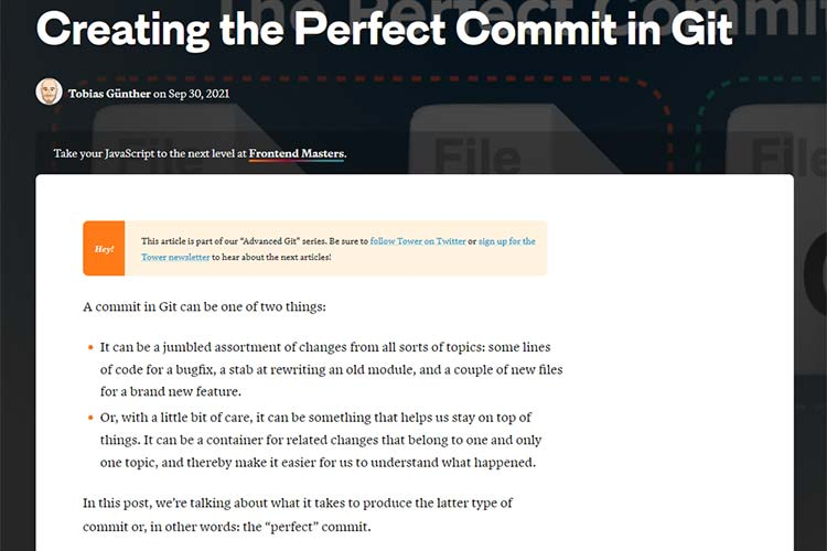 Example from Creating the Perfect Commit in Git