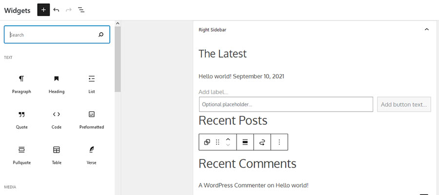 The new, block-based WordPress Widgets screen.